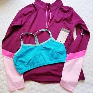 New long sleeved athletic shirt sports bra bundle